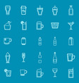 beverage line color icons on blue background vector image vector image