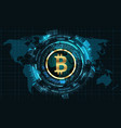 bitcoin with hud elements bit coin btc bit-coin vector image vector image