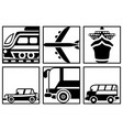 black and white square icons of all modes of vector image vector image