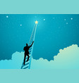 businessman climbing a ladder to reach out vector image vector image