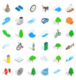 camping icons set isometric style vector image vector image