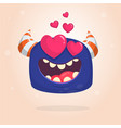 cartoon blue cool monster in love vector image vector image