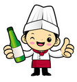 cartoon chef character promotes a distilled vector image vector image