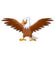 cartoon eagle standing with wings extended vector image vector image
