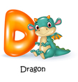 Cartoon of D letter for Dragon vector image vector image