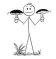 cartoon of man holding two big eatable boletus vector image vector image