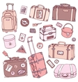 Collection of vintage suitcases vector image vector image