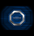 dark blue technology background with metallic vector image vector image