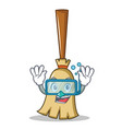 diving broom character cartoon style vector image vector image