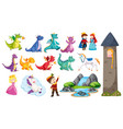 Fairtale set with dragons and princess in the