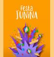 festa junina paper art party decoration card vector image