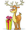 funny reindeer and gift - isolated on white vector image vector image