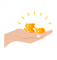 Gold Coins in Hand vector image vector image