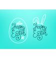 happy easter lettering inscription easter eggs vector image