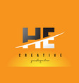 he h e letter modern logo design with yellow