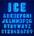ice font alphabet template set white frost vector image