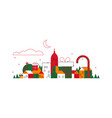 isolated christmas city concept in outline style vector image
