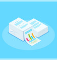 isometric stack documents with an approved vector image