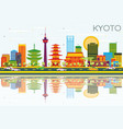 kyoto skyline with color buildings blue sky and vector image vector image