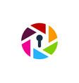 lens security logo icon design vector image vector image