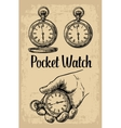 Male hand holding antique pocket watch hold hand vector image vector image