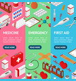 medical banner vecrtical set isometric view vector image vector image