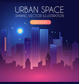 night city background with shining moon urban vector image