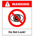 no watching sign do not look at do not observe vector image vector image