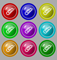 Paper clip icon sign symbol on nine round vector image