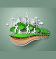 paper cut of eco with family vector image vector image