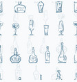 pattern bottles and glasses vector image