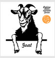 peeking goat - cheerful goat out - face vector image vector image