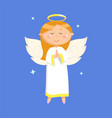 portrait view praying angel in dress vector image vector image