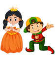 prince and princess costume on white background vector image