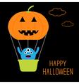 Pumpkin hot air balloon with cute monster vector image