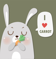 rabbit love carrot vector image vector image