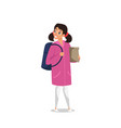 school girl wearing glasses vector image vector image