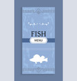 seafood menu with shadow silhouette of fish vector image