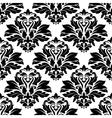 Seamless damask black floral background pattern vector image