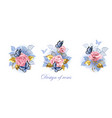 set pink roses with butterflies vector image vector image