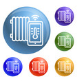 smart thermal house icons set vector image vector image
