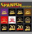 spanish set of number twenty 20 years vector image