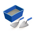 spatula mortar isometric construction tools vector image vector image