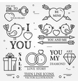 thin line badge label set for Saint Valentines day vector image