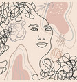 trend background lines woman face 12 vector image vector image