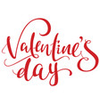 valentines day red handwritten ornate text vector image vector image