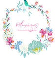 watercolor round frame flowers vector image vector image