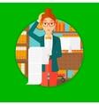 Woman holding long bill vector image vector image