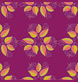 cute leaves pattern on purple blue and orange vector image