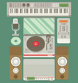 music production flat icon set vector image